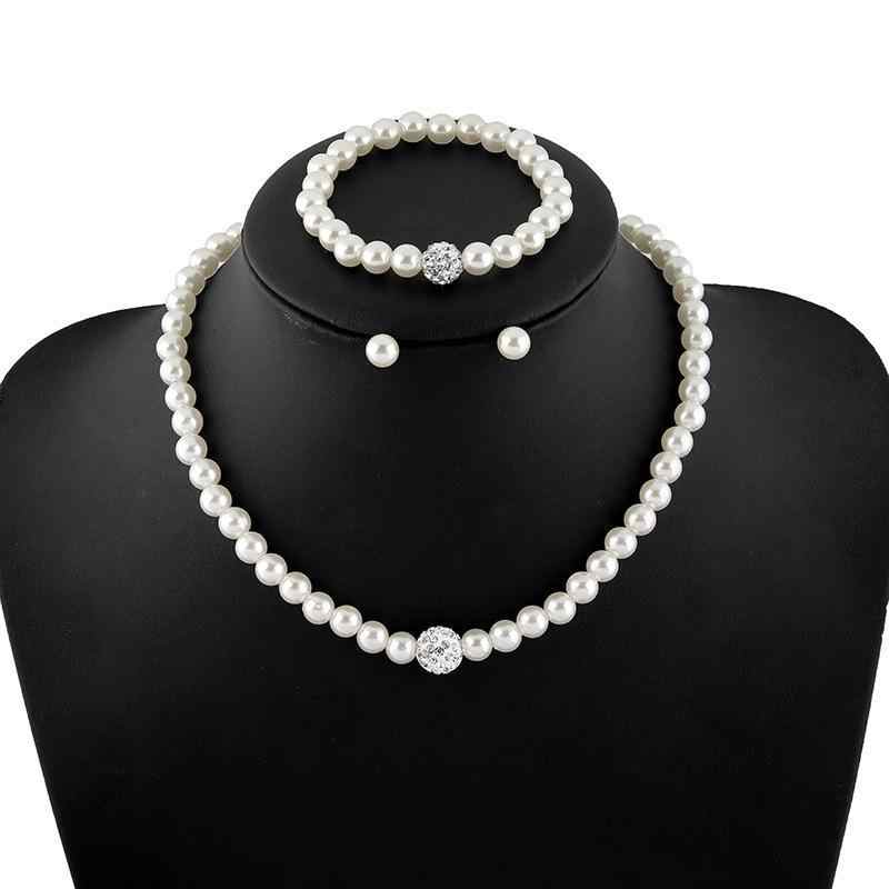 2018 New Korean Jewelry High-grade Imitation Pearl Necklace Matching Bridal Jewelry Sets Parure Bijoux Femme wholesale