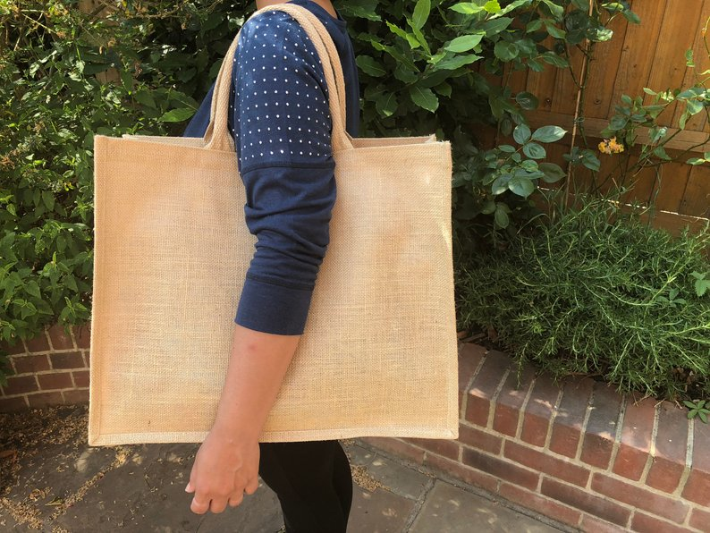 New Linen PU Coating Reusable Jute Shopping Bag Beach Blonde Handbags Canvas Tote Bags For Women Grocery Bag Large