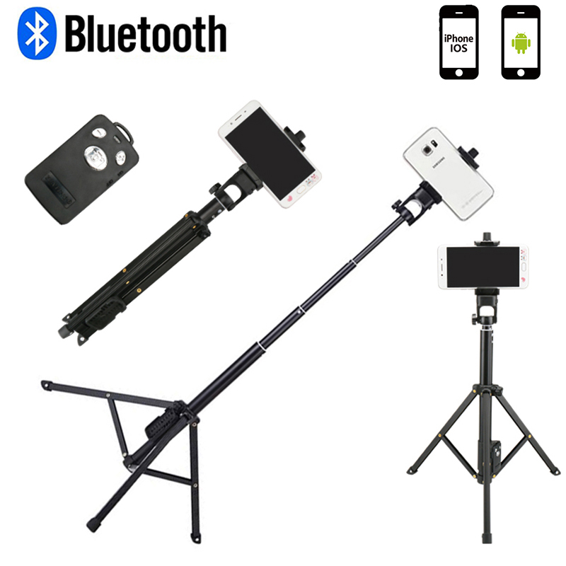 Compact Travel Tripod Monopod with Bluetooth Remote Shutter Selfie Stick for iPhone X IOS Android Mobile mini camera tripods zpq 361 wireless bluetooth selfie camera remote shutter for ios android mobile phone cr1632 x 1