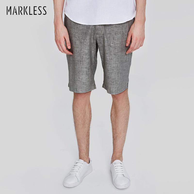 표범없는 리넨 반바지 남성 여름 얇은 무릎 길이 반바지 캐주얼 멋진 통기성 남성 반바지 버뮤다 masculina DK1104M
