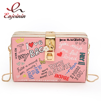 Popular Letter Graffiti Box Design Female Pu Leather Women's Party Clutch Bag Shoulder Bag Handbag Crossbody Messenger Bag Flap цена 2017
