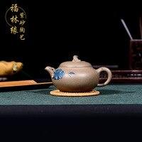 Бесплатная доставка 240 мл китайский кунг фу Фиолетовый глины Чай горшок Исин известный мастер ручной работы Коллекционное издание Чай горш