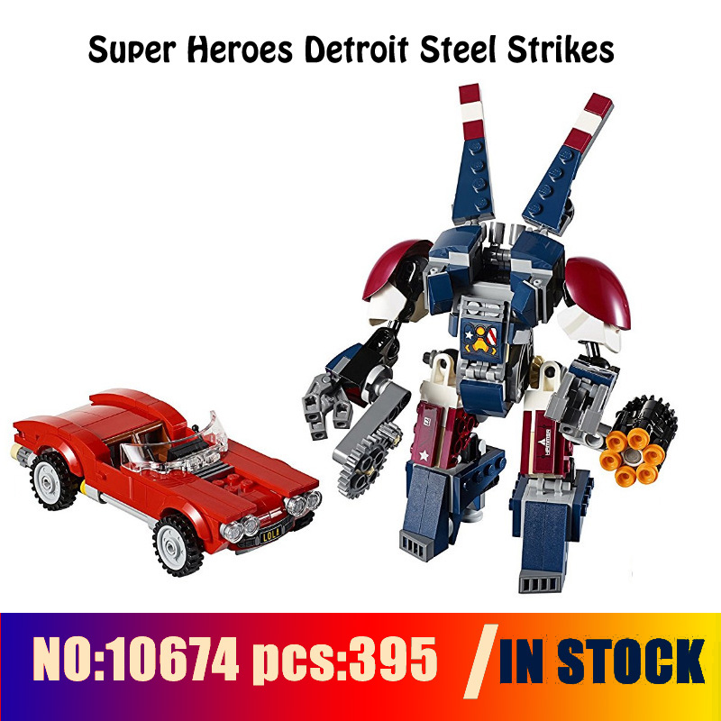 Compatible with lego 76077 Models building toy 10674 395pcs Super Heroes Detroit Steel Strikes Building Blocks toys & hobbies