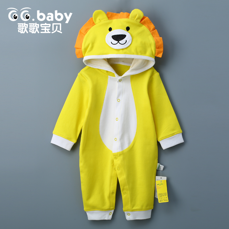 Newborn Baby Rompers Clothes Cotton Ears Hooded Suits Infant Jumpsuit Outwear Animal Lion Baby Boys Girls Jumpsuit Clothing mother nest 3sets lot wholesale autumn toddle girl long sleeve baby clothing one piece boys baby pajamas infant clothes rompers