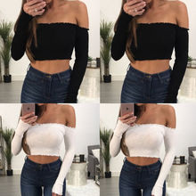db975cce0cd Womens Ladies Frill Bardot Off Shoulder T-Shirt Jumper Ribbed Full Sleeve Crop  Tops Lady