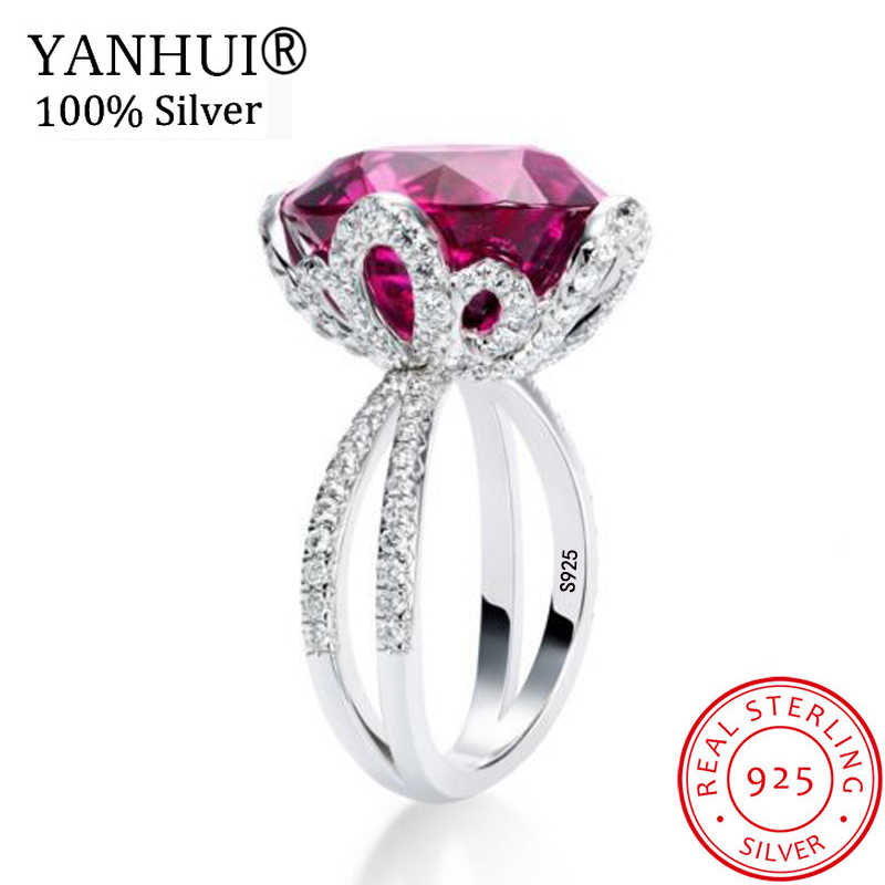 YANHUI Luxury Natural 6 Carat Red Gem Stone Ring Original 925 Solid Silver Cubic Zirconia Jewelry WeddingRings for Women KRA0378