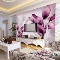 Beibehang بسيطة 3d مجسمة كبيرة جدارية دافئ الأرجواني الزهور زينت غرفة ورق الحائط خلفية