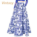 Vintacy 2017 женщин vintage юбки бальное платье весна партия мода длинные юбки женщин причинно длина пола лето Цветочный Принт