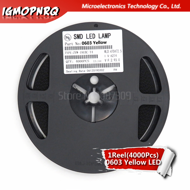 1reel 4000pcs Yellow 0603 SMD LED Diodes Light