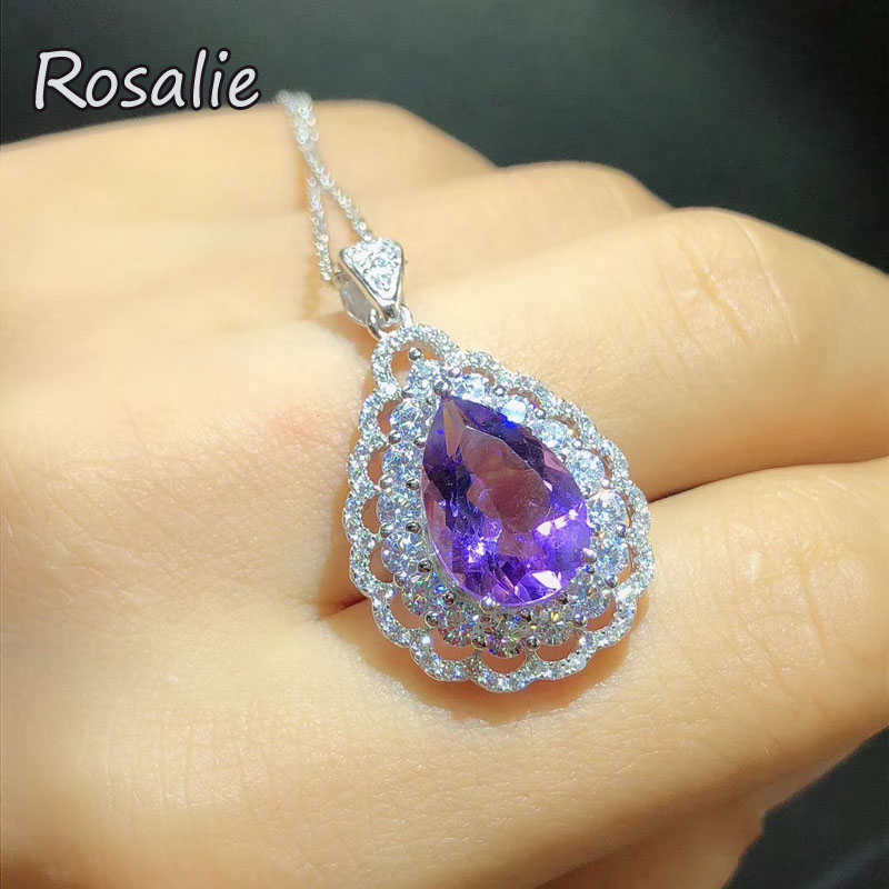 Rosalie,Luxury Gemstone Pendant necklace with natural amethyst pear 9*13 3ct fine jewelry 925 stelring silver fine jewelry women