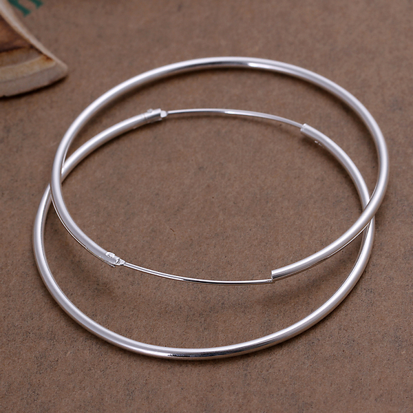 WHOLESALE SILVER 925 STERLING SILVER SMOOTH BIG HOOP EARRINGS OUT DIAMETER 4CM 50MM FOR WOMEN GIRLS in Hoop Earrings from Jewelry Accessories