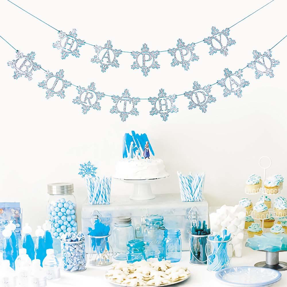 Серебряно-синий блестящий баннер с днем рождения, гирлянда со льдом и снегом, зимнее украшение в виде снежинки, украшение для девочки из мул...
