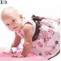 HABA Розовый сладкий торт детское платье с поясной ремень/девочка восхождение одежды, лето платье без рукавов, мед детские HB0048