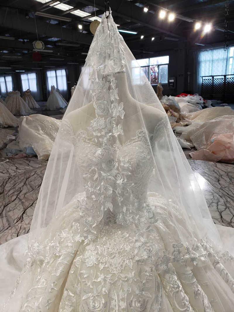 LSS513 robe de mariée vintage avec voile de mariage col rond à lacets v-back comme robe de mariée blanche 2019 vestido de noiva praia boho
