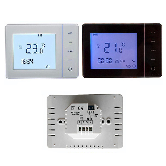 digitale thermostat temperaturregler temperaturregler f r elektrische fu bodenheizung infrarot. Black Bedroom Furniture Sets. Home Design Ideas