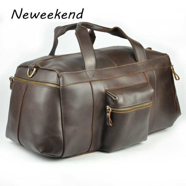NEWEEKEND Retro Genuíno Couro De Couro Brilhante de Couro Grande Saco Da Bagagem Bolsa de Viagem Duffel Bag Com Zíper para o Homem 2065 M