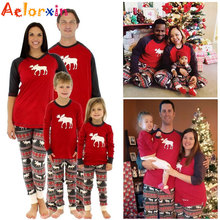 Christmas Pajamas For Family Matching Outfits Set Deer Adult Women Kids Baby Reindeer Sleepwear Nightwear Pjs Clothing Xmas