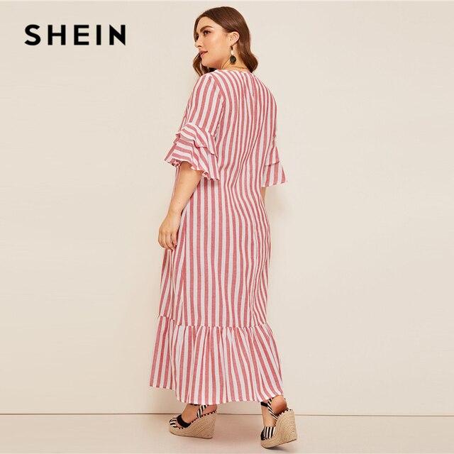 SHEIN Plus Size Bell Sleeve Ruffle Trim Striped Maxi Dress 2019 Women Spring Summer Casual Ruffle Hem Half Sleeve Tunic Dresses 2