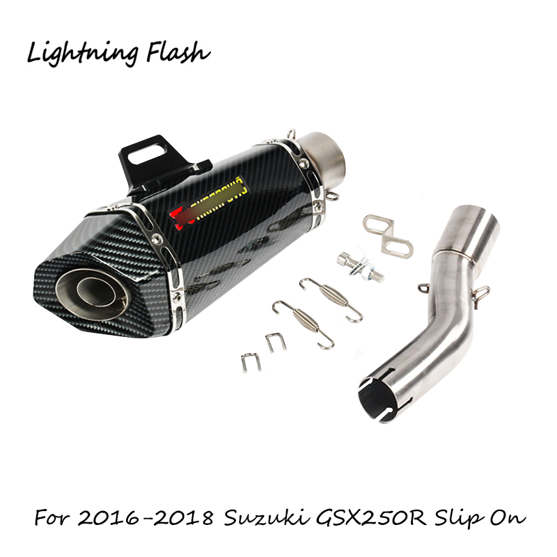 Slip On Motorcycle <font><b>Exhaust</b></font> Pipe For <font><b>Suzuki</b></font> <font><b>GSX250R</b></font> <font><b>Exhaust</b></font> Mid Link Elbow Pope Muffler Tail Stainless Steel Tube 2016 2017 2018 image