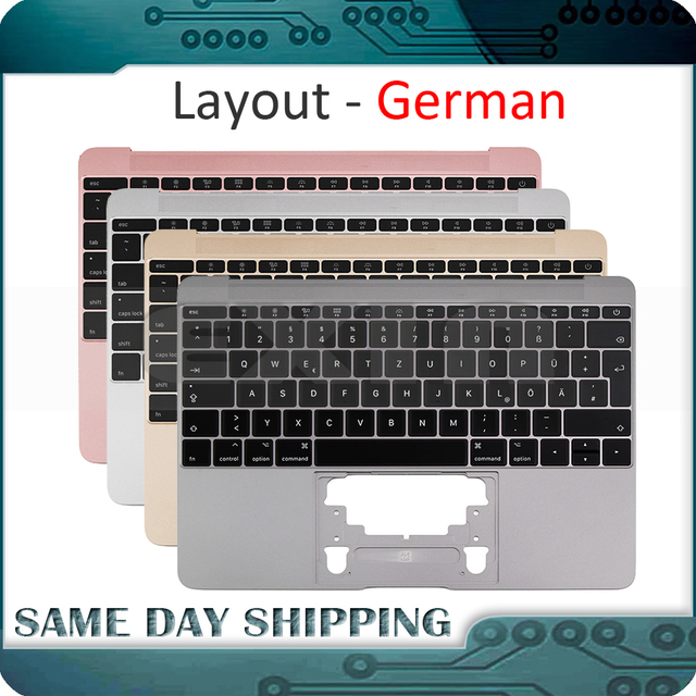 For Macbook 12 A1534 German Germany Deutsch Keyboard with Topcase Top Case Gold/Gray Grey/Silver/Rose Gold Color 2015 2017