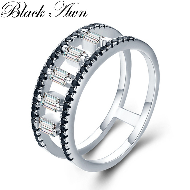 Romantic 3.3g 925 Sterling Silver Fine Jewelry Round Engagement Black Spinel Engagement  Ring For Women G033