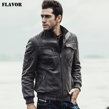 2017 NEW Mens Motorcycle Real leather jacket Male Bomber winter warm Padding Cotton Genuine Leather Jacket Leather