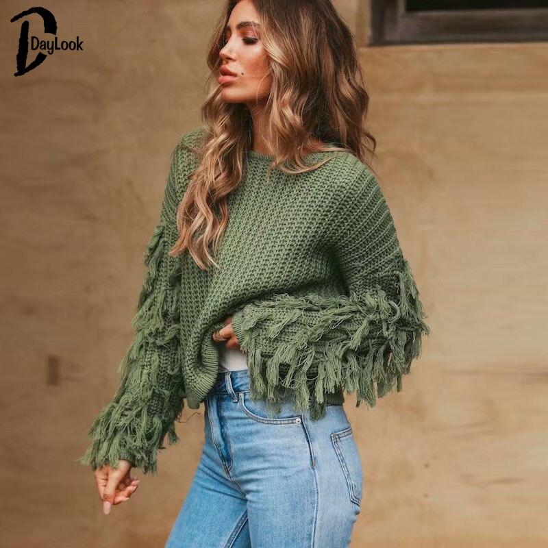 Daylook Neue Zeitlich begrenzte Regelmäßige Herbst Chic Quaste Pullover O Hals Hülse Pullover Frauen Winter 2018 Oberbekleidung Strick Casual