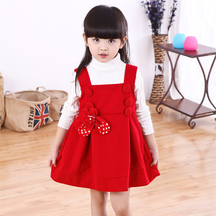 12c553ba71c 2015 Lovely Winter Baby Girl Clothes Kids Vest Red Christmas Dress 2 8  Years Old Girl Dress For Retailing GD0158-in Dresses from Mother   Kids on  ...