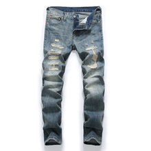 Fashion Retro Destroyed Men Jeans Slim Fit Classical Denim Pants Embroidery Patches Ripped Streetwear Hip Hop