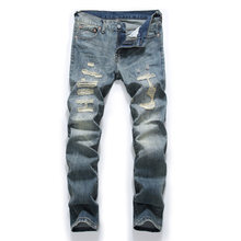 Fashion Retro Destroyed Men Jeans Slim Fit Classical Denim Pants Embroidery Patches Ripped Jeans Men Streetwear Hip Hop Jeans(China)