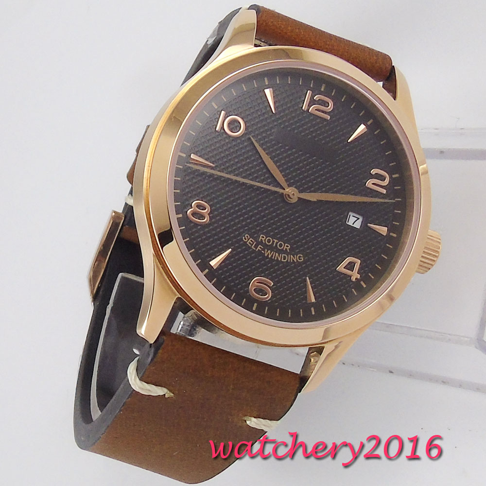 Fashion Rose Golden Plated Leather Mens Watches Automatic Men Wrist Watch 2018 Mens Watches Top Brand Luxury Casual Watch ClockFashion Rose Golden Plated Leather Mens Watches Automatic Men Wrist Watch 2018 Mens Watches Top Brand Luxury Casual Watch Clock