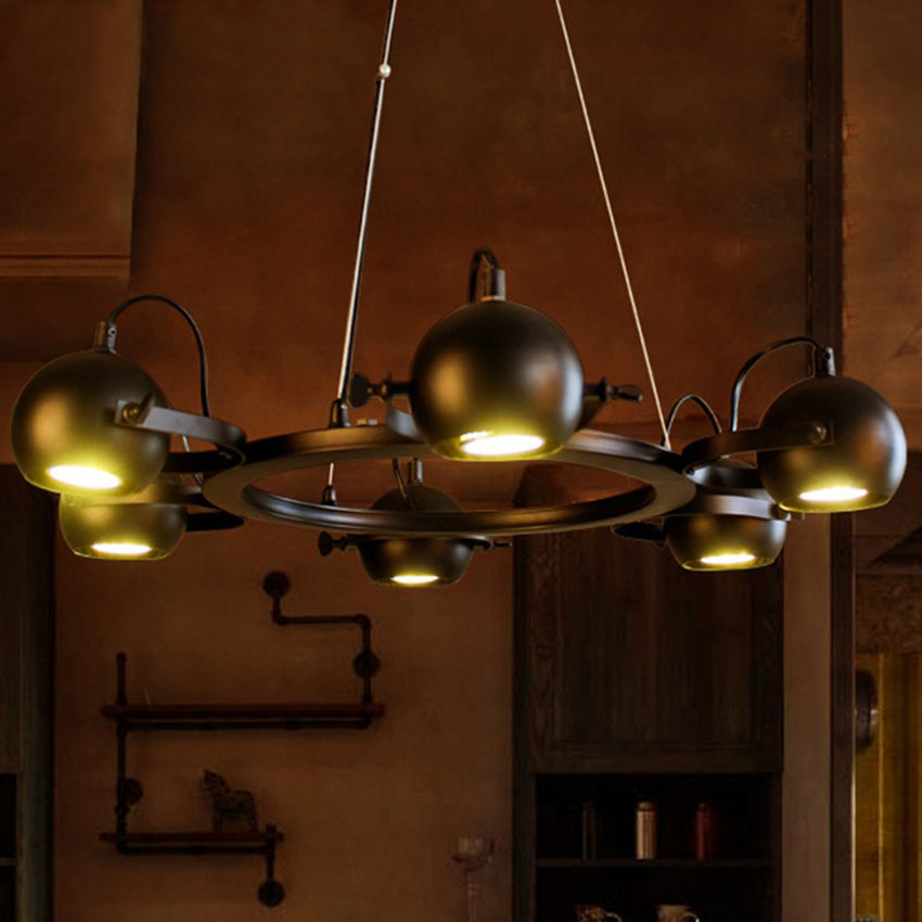 American iron led spotlight chandelier68 head gu10 metal ball american iron led spotlight chandelier68 head gu10 metal ball retro pendant lamp restaurant clothing shop industral spotlight in pendant lights from mozeypictures Choice Image
