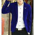 Hot ! 2016 New Mens Casual Luxury Slim Fit Velet Blazer jacket Male Promotion Suit Business clothing Wine Red Blue Black