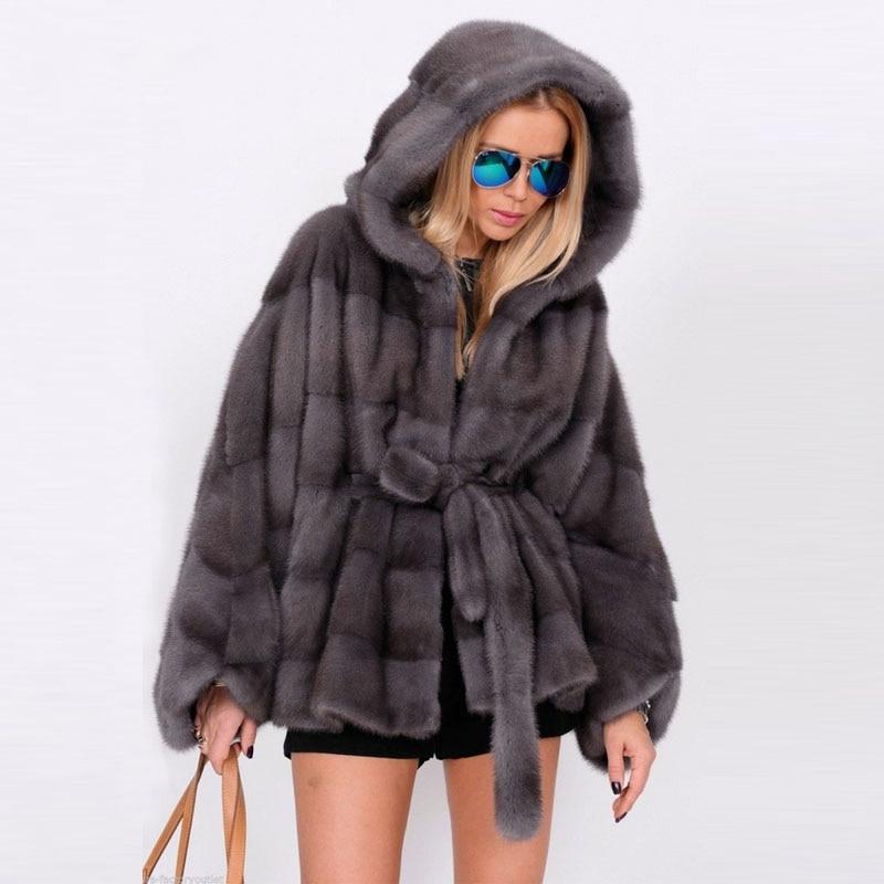 Tatyana Furclub Real Natural abrigo de piel de visón Collar bate estilo visón chaqueta de piel de las mujeres de manga larga abrigo de invierno de piel