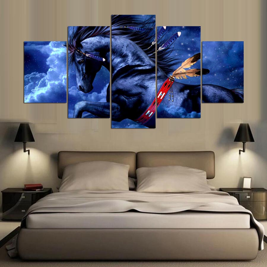 5 Panel Modern Native American Horses Art Print Canvas Wall Rhaliexpress: Native American Paintings For Living Room At Home Improvement Advice