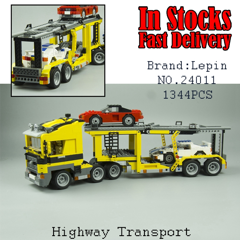LEPIN 24011 Technic Series The Three in One Highway Transport Car  Set Building Block Bricks Toys for children gifts brinquedos compatible with lego technic creative lepin 24011 1344pcs 3 in 1 highway transport building blocks 6753 bricks toys for children