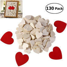 130pcs Heart Shaped Wood Blank Unfinished Crafts Supplies Laser Wood Wedding Decoration Teaching DIY Accessories(China)