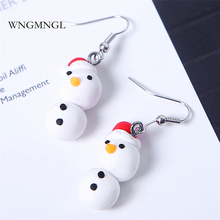 WNGMNGL 2018 Fashion Korean Drop Earrings Cute Hanging Soft Clay Snowman Dangle For Women Party Jewelry Christmas Gift
