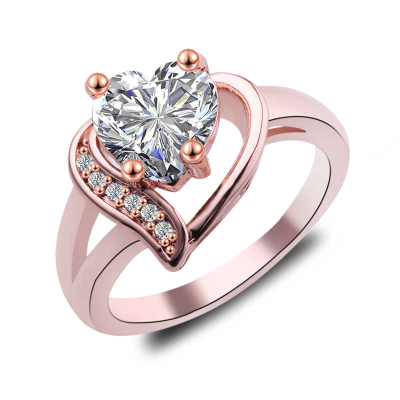 Charm Multicolor หัวใจสีม่วง/ขาว/แชมเปญ Fire Opal แหวนผู้หญิง Vintage Fashion Rose Gold Filled Birthstone แหวน