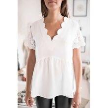 купить Plus Size Womens Ladies Short Sleeve V Neck Chiffon Shirt Tee Tops Summer Casual Loose Blouse Top White Holiday Blouse онлайн