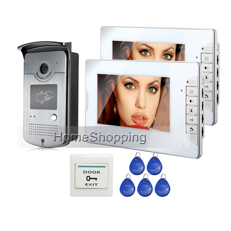 FREE SHIPPING New Wired 7 TFT Video Intercom Door Phone System 2 White Monitor 1 Doorbell RFID Reader Camera In Stock Wholesale free shipping wired 7 color video door phone intercom system 2 white monitor 1 night vision doorbell camera in stock wholesale