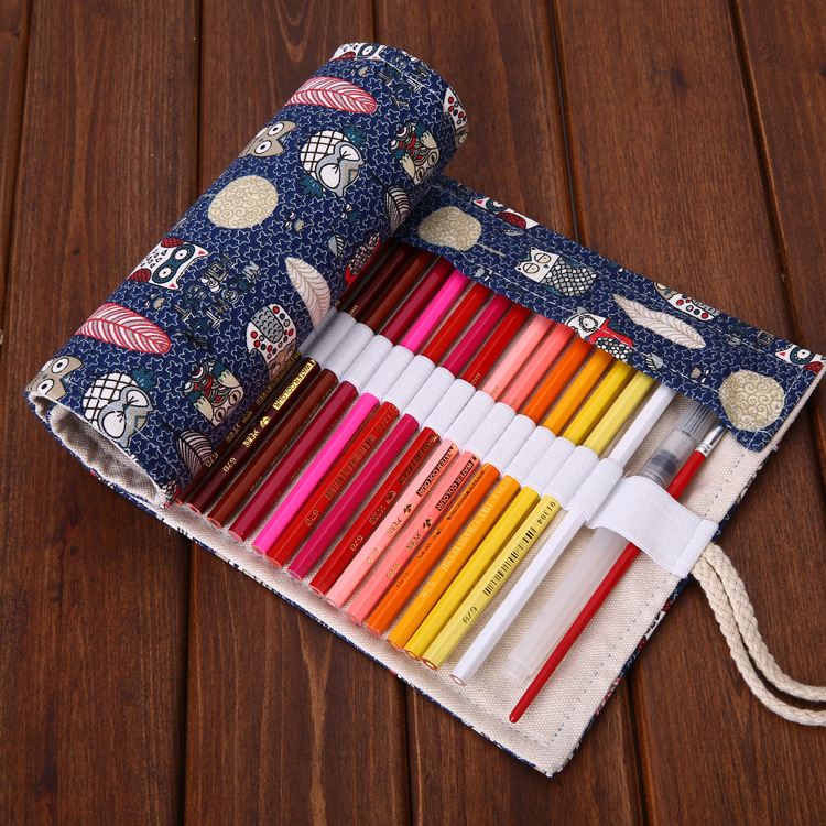 36/48/72 Holes Feather Roll Pencil Bag , Kawaii Owl Roller Pencil Case for School Kids slit back contrast feather pencil skirt