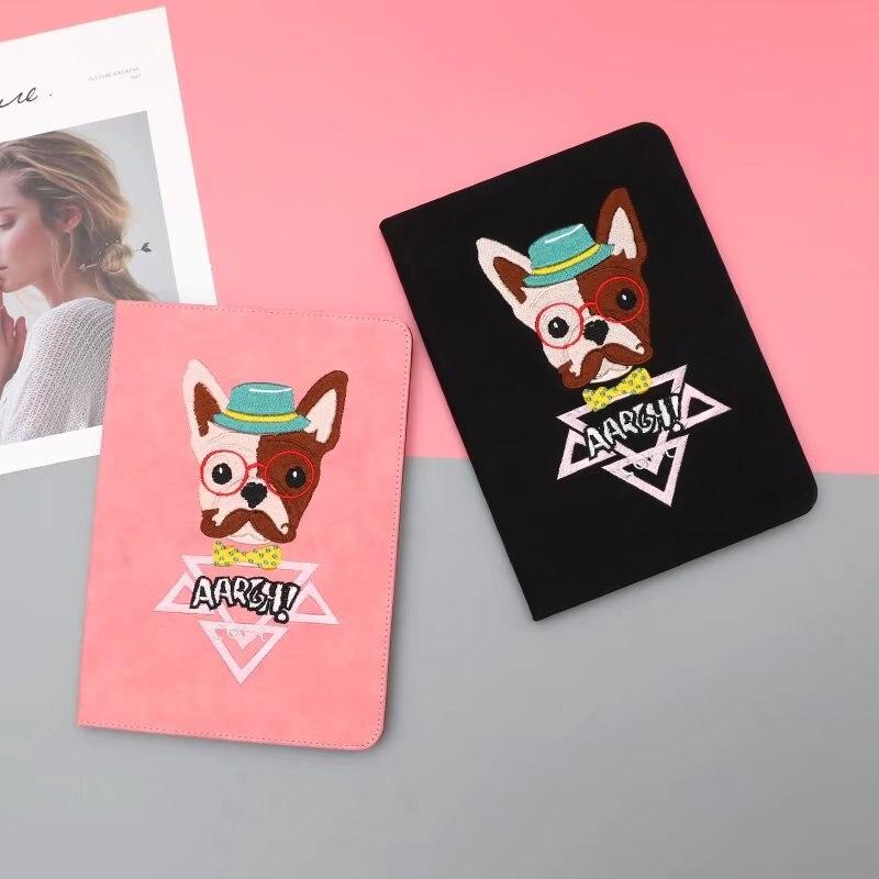 maosenguoji embroidery Glasses dog luxury Tablet Case For Ipad mini 1 2 3 4 Smart wake up/sleep Function Folding Bracket cover