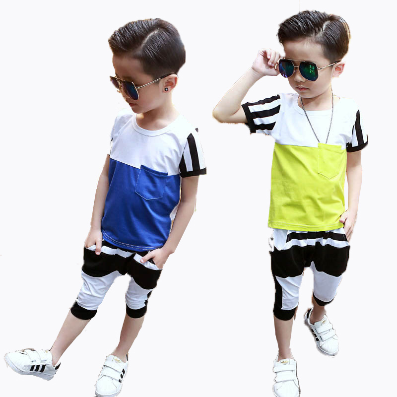 Boys Summer Clothing Sets Cotton Short Sleeve T-Shirts And Knee Length Pants For Boys Sport Kids Patchwork Outfits 2 4 5 6 8 10 summer t shirts for boys cotton kids shirts dinosaur short sleeve pullover clothes v neck boy t shirt fashion children clothing