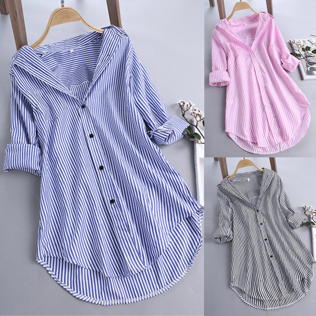 Women Shirts Button Summer Blouse Long-Sleeve Loose Free-Ostrich Pink Elegant Stripe