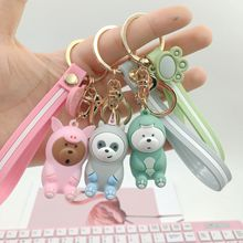 Three Bare Bears ice bear figure key chain We keychains cartoon grizzly panda figures toy pendant toys ring
