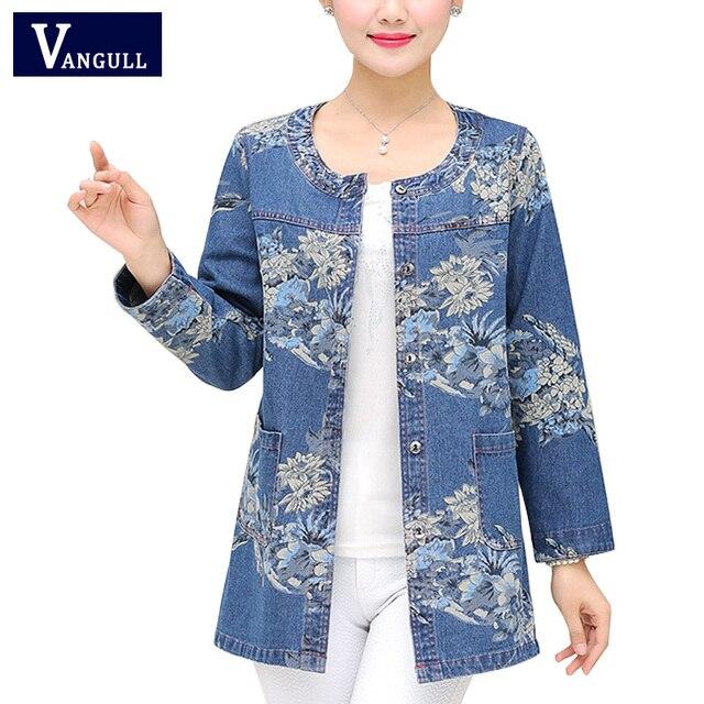 נשים ג 'ינס מעילי סגנון חדש כותנה חולצות גבירותיי הדפסה אחת חזה מזדמן O-צוואר Loose ז' אן מעילי גודל גדול הלבשה עליונה