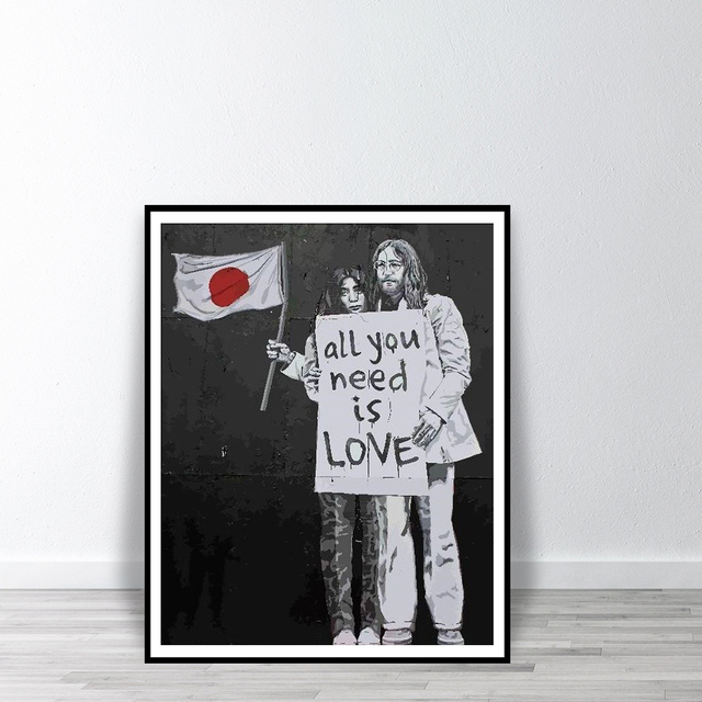 Banksy Print Yoko and John All You Need is Love Wall Art Posters And