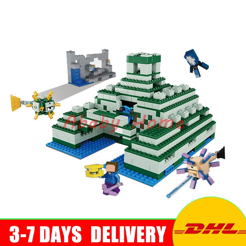 DHL Lepin 18029 828pcs My World The Underwater Temple action anime figures Building Block Bricks Toys Clone 21136 lepin 404pcs my world the jungle temple minecraft model kit anime action figure building block bricks hot toy for children 21132