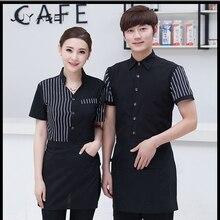 2018 Hotel Pakaian Kerja Musim Panas Pria dan Wanita Restoran Restoran Barat  Seragam Kopi Toko Memasak Chef Kemeja Lengan Pendek 1954868b8d